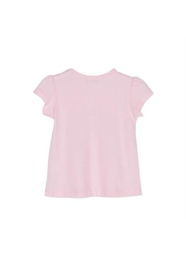 Silversun Kids Kız Bebek Baskılı Omuzdan Düğmeli Kısa Kollu Tişört Bk 115897 Pembe